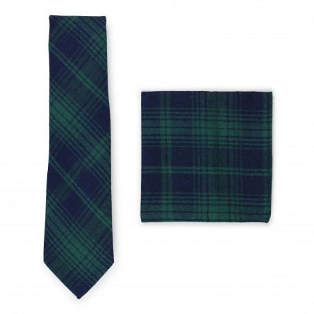 Tartan tie and pocket square in matte woven cotton fabric