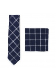 navy plaid tie with matching pocket square