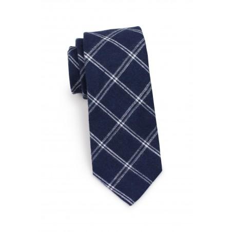 slim cut plaid tie in dark midnight blue in matte cotton