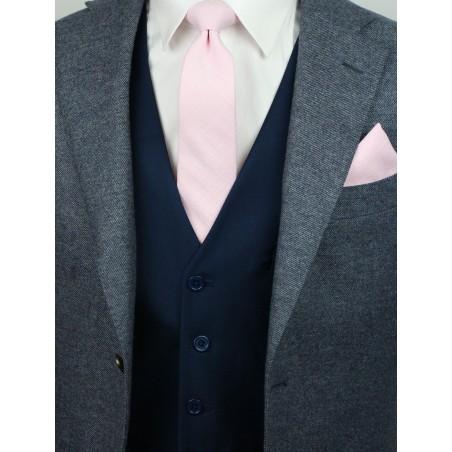 skinny wedding tie in bridal pink in matte cotton