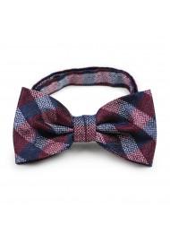 Burgundy plaid pre-tied bow tie