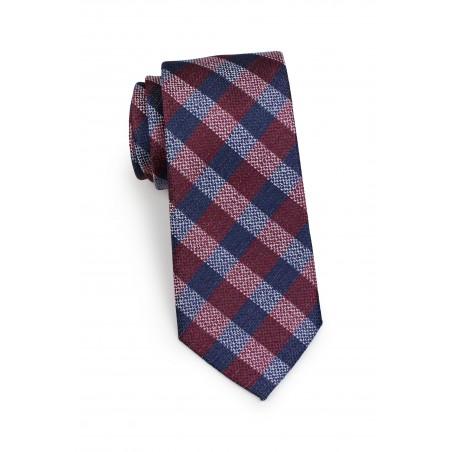 Standard length plaid burgundy necktie