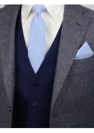 slim cut mens tie in sky blue in cotton