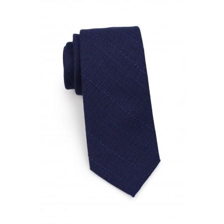 casual skinny cotton necktie in navy