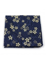 navy and gold cotton pocket square with flowers