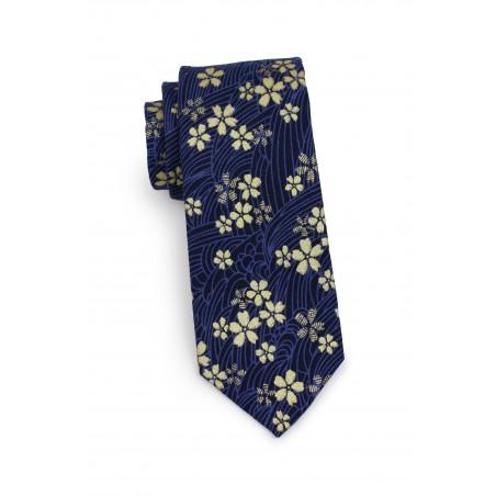 skinny designer tie in navy and metallic gold