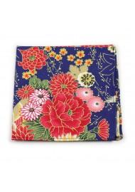 floral designer pocket square in bright summer colors