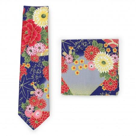 Colorful floral summer cotton tie in modern slim cut width
