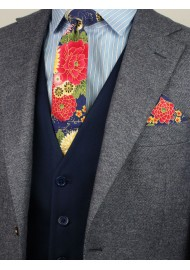 style tips for colorful skinny floral neckties