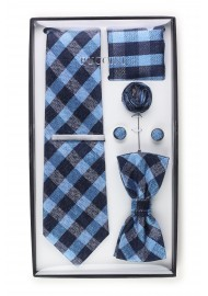 6-piece menswear set in blue plaid