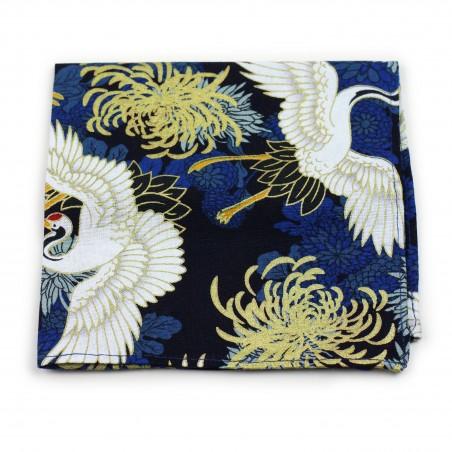 vintage pocket square with Japanese cranes