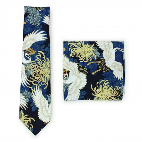 vintage Japanese designer tie set in blues and golds in printed cotton