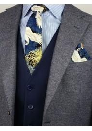 trendy Japanese vintage skinny tie in blue and metallic gold