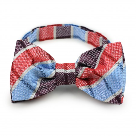 Red and blue plaid pre-tied bow tie