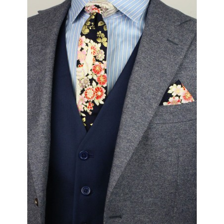style tips for vintage Japanese floral ties