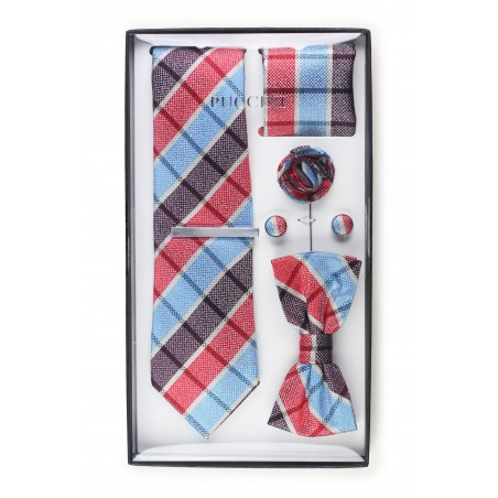 6-piece menswear set in red and blue plaid