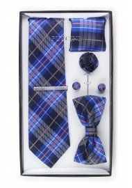 6-piece menswear set in dark navy plaid