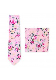 pink cotton floral tie for weddings