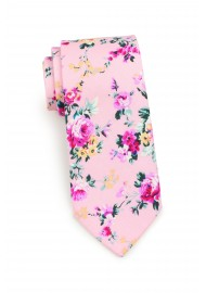 floral tie in pink in cotton