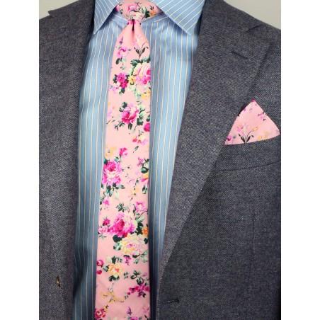 cotton floral designer tie in skinny width