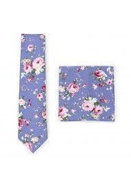french blue and pink cotton floral tie