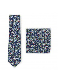 small floral print tie and hanky set
