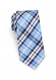 Standard length plaid powder blue necktie