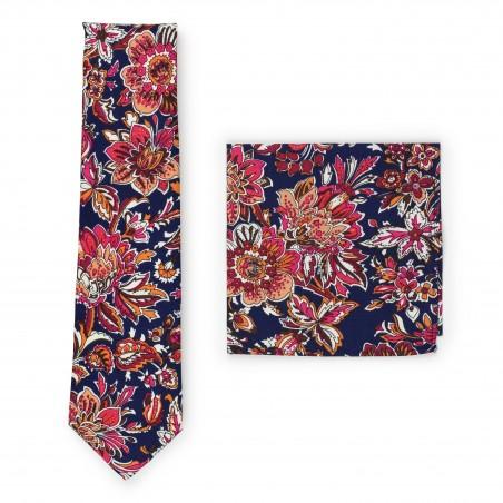 vintage flower cotton tie set in slim width