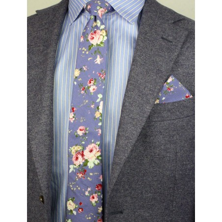 french blue floral necktie with hanky