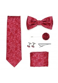 Wedding groomsmen gift set in raspberry red paisley