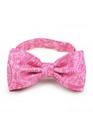 Geranium pink paisley pre-tied bow tie