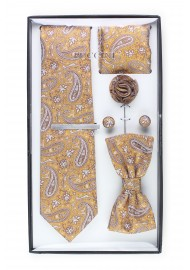 6-piece menswear set in caramel paisley