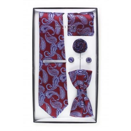 6-piece menswear set in burgundy paisley