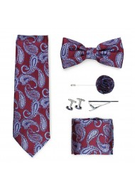 Wedding groomsmen gift set in burgundy paisley