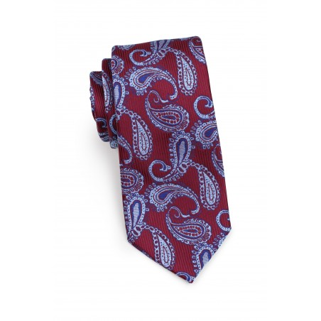 Standard length burgundy paisley necktie