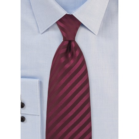 Extra long solid color tie - Stain resistant microfiber tie in burgundy red