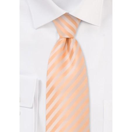 Extra long solid peach-orange necktie - Stain resistant Microfiber necktie in single orange color