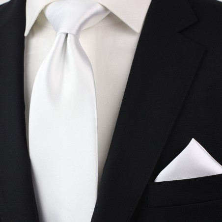 Extra long ties - Solid white XL necktie styled