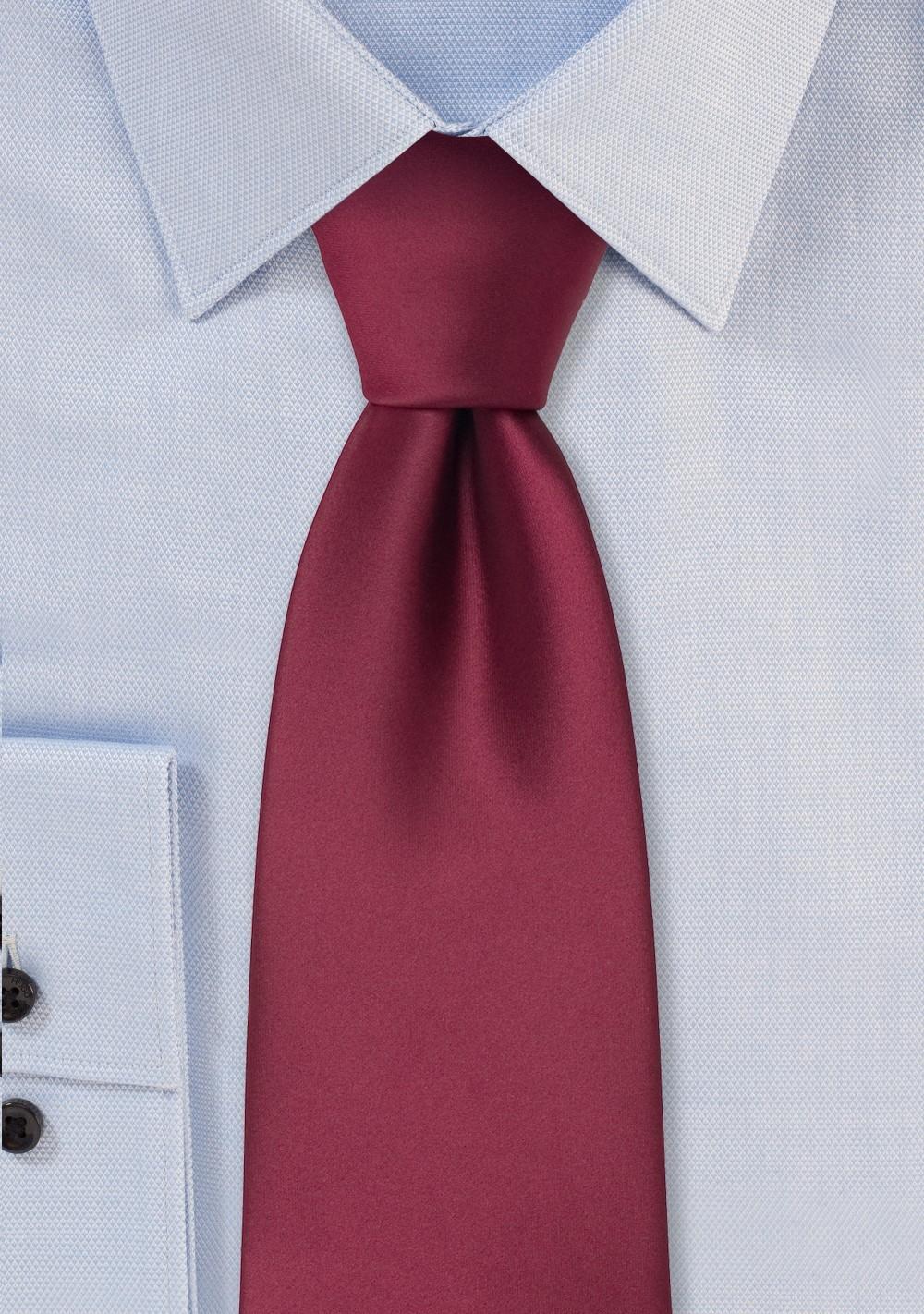 Solid color ties - Solid burgundy red tie