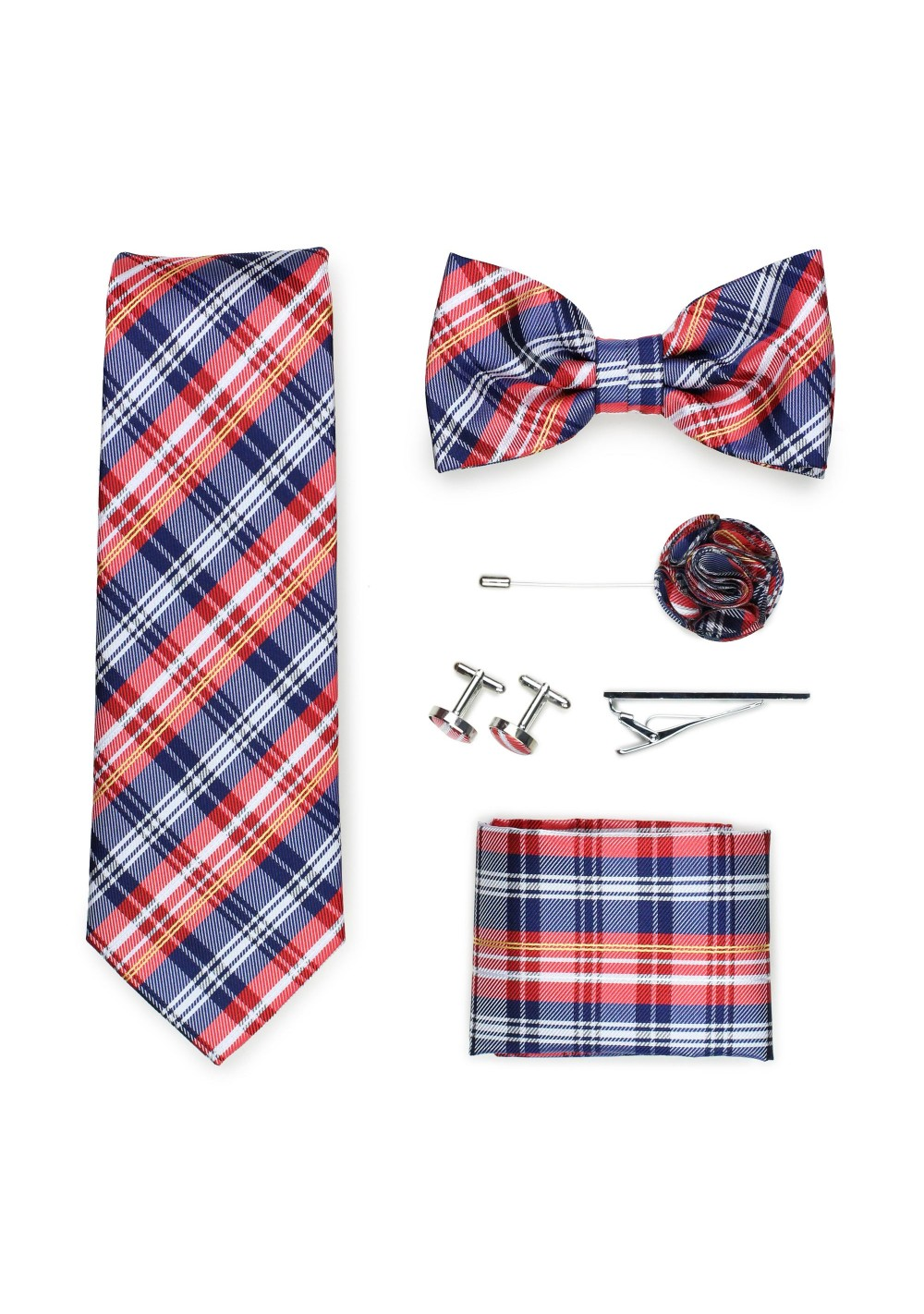 plaid tie gift menswear set