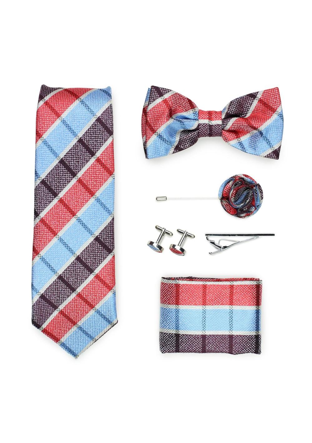 madras plaid menswear tie gift set