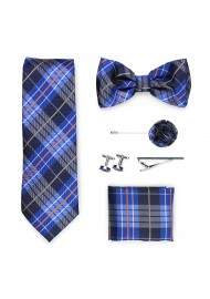 plaid necktie gift set in blue and orange