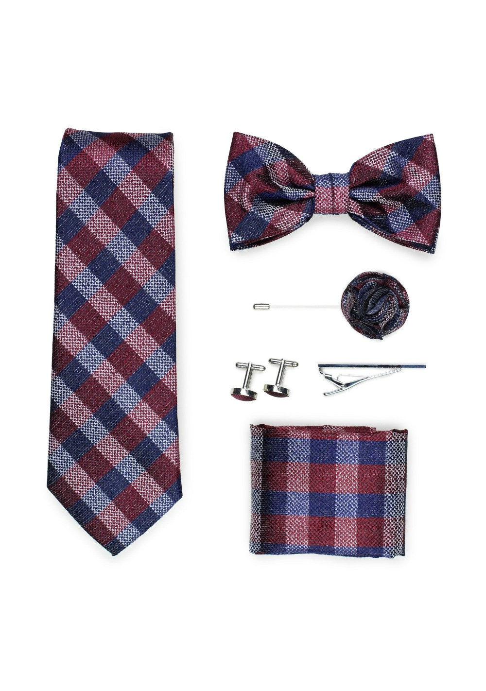 gingham check necktie gift set in navy and burgundy