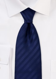 Solid Dark Blue Striped Tie for Kids