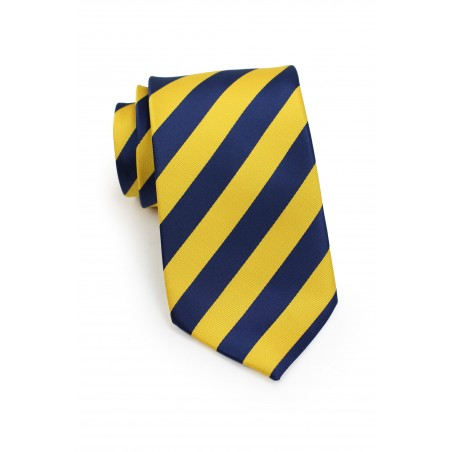 Blue and Yellow Striped Tie in XL