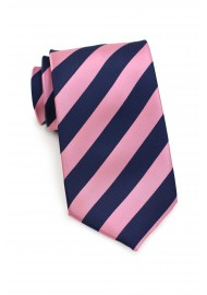 Pink and Navy Striped Kids Tie