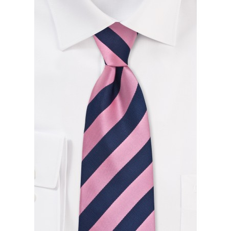 Pink and Navy Extra Long Tie