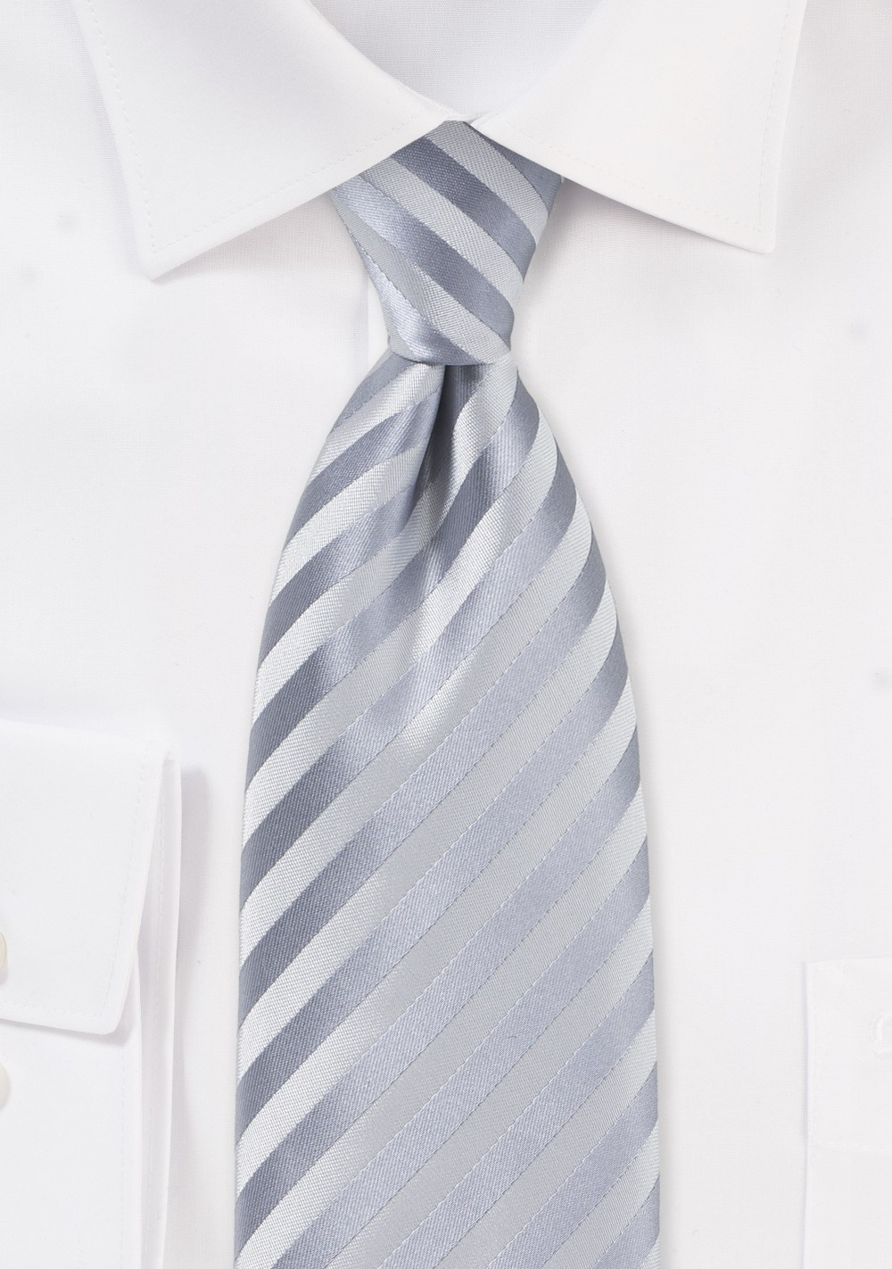 Solid Silver Tie in Clip-On Style