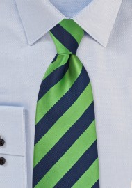 Navy and Green Striped Tie