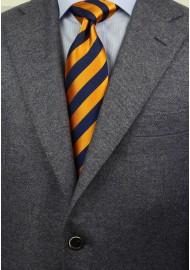 Regimental Orange and Navy Tie Styled